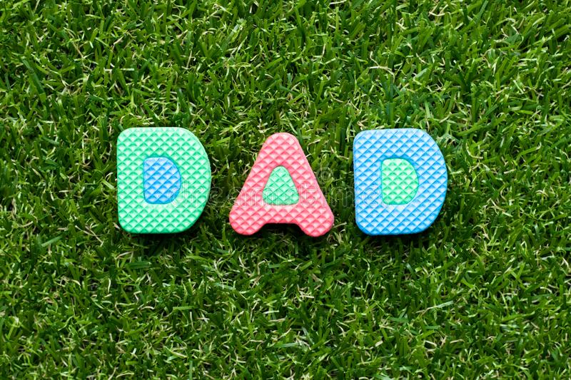 Toy letter in word dad on green grass background royalty free stock image
