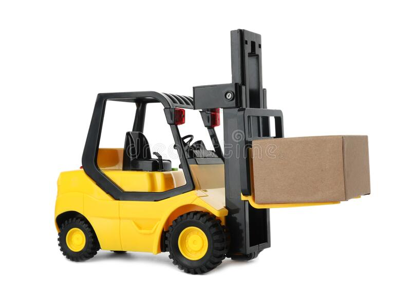 Toy forklift with box isolated. Logistics and wholesale concept. Toy forklift with box isolated on white. Logistics and wholesale concept royalty free stock images