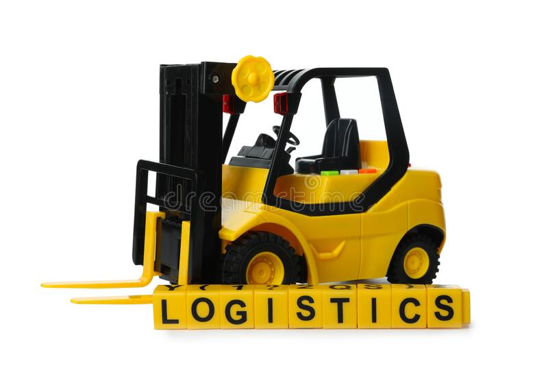 Toy forklift and cubes with word LOGISTICS. Wholesale concept. Toy forklift and cubes with word LOGISTICS isolated on white. Wholesale concept royalty free stock image