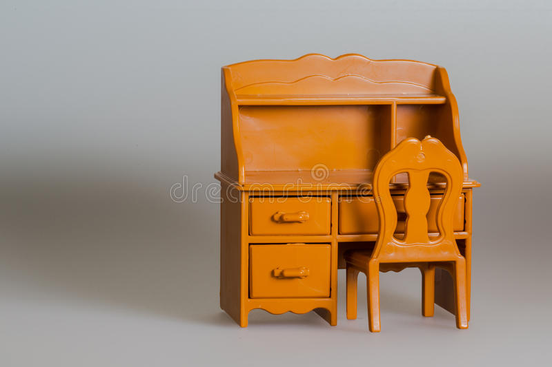 Toy furniture, Wooden desk and chair. With drawers stock photos