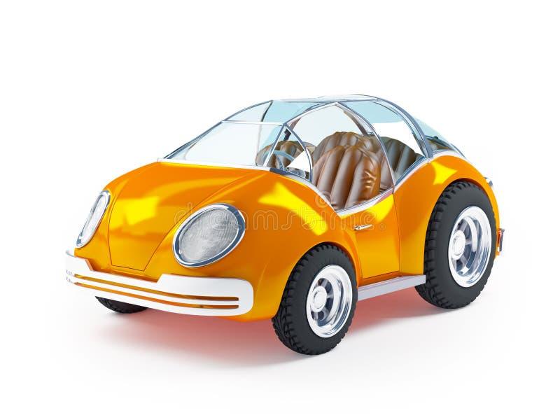 Toy futuristic car. Orange futuristic toy car isolated on a white background stock illustration