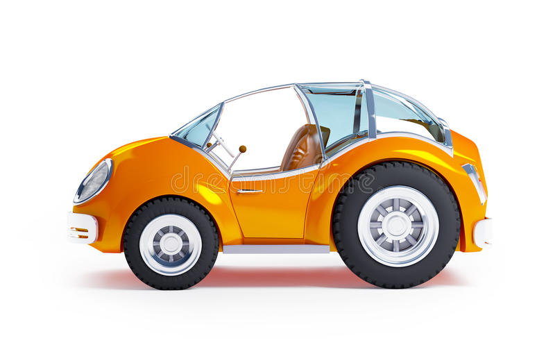 Toy futuristic car side. Orange futuristic toy car isolated on a white background. Side view vector illustration