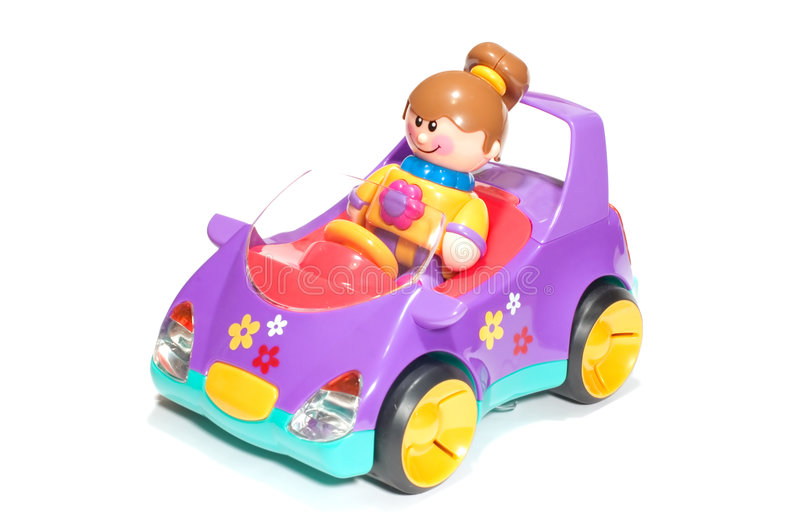 Toy girl and car royalty free stock images