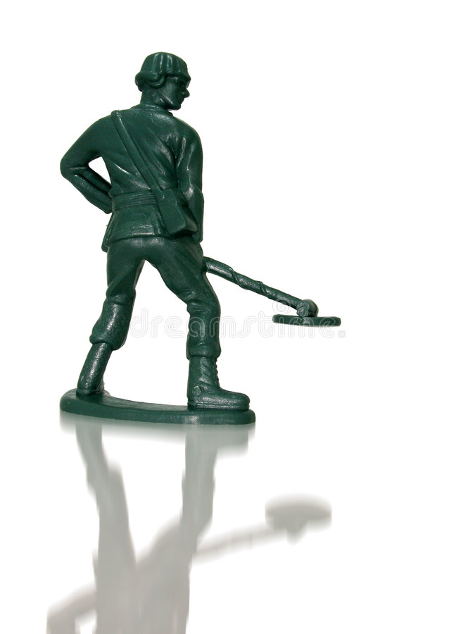 Toy Green Army Man (Mine Sweeper) royalty free stock photo