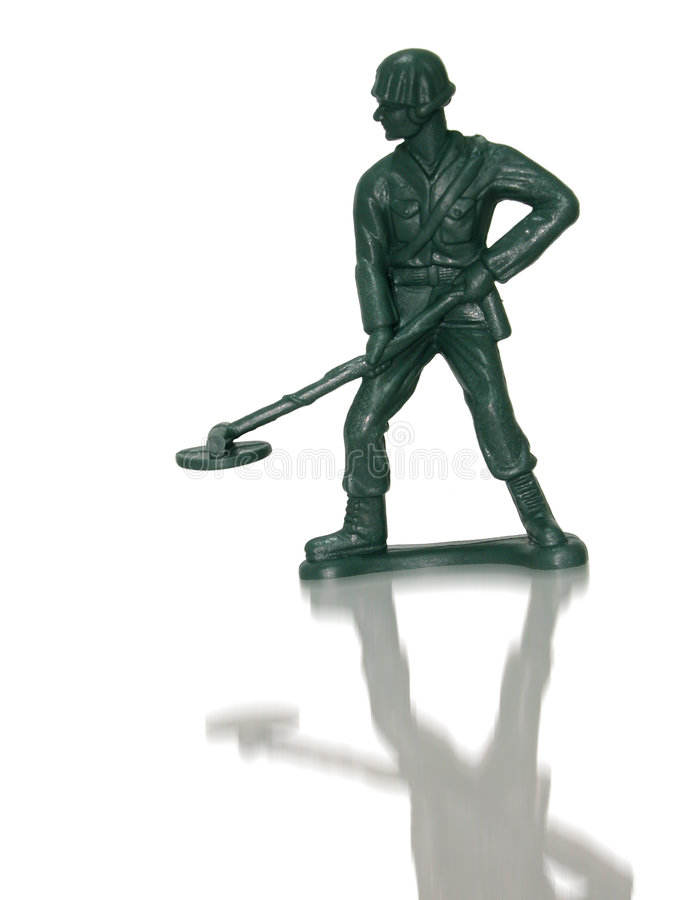 Toy Green Army Man (Mine Sweeper) stock photo