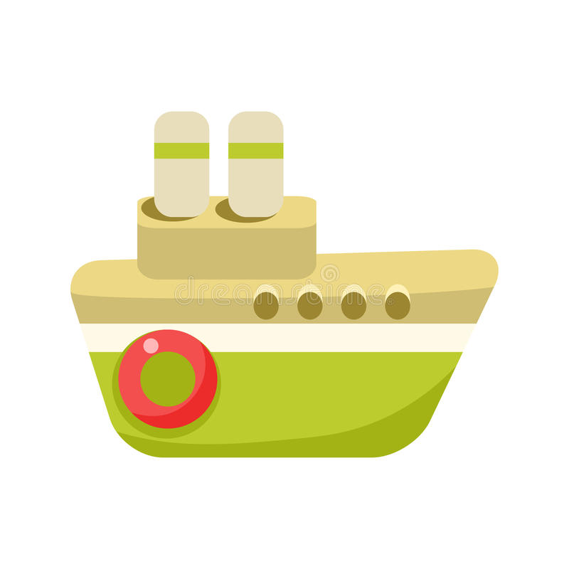 Toy Green Steamer Boat With Two Chimneys, Object From Baby Room, Happy Childhood Cute Illustration. Part Of Happy Childhood And Infancy Isolated Cartoon Items stock illustration
