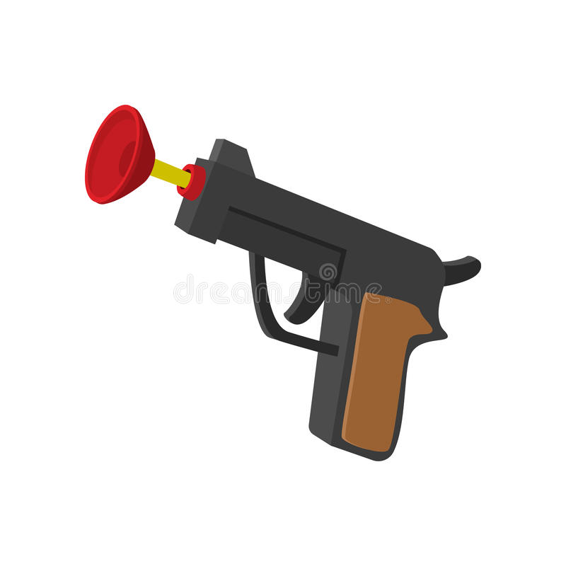 Toy gun with suction cup cartoon icon vector illustration