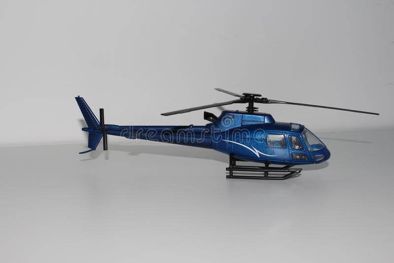 Toy Helicopter Right Side View azul imagenes de archivo