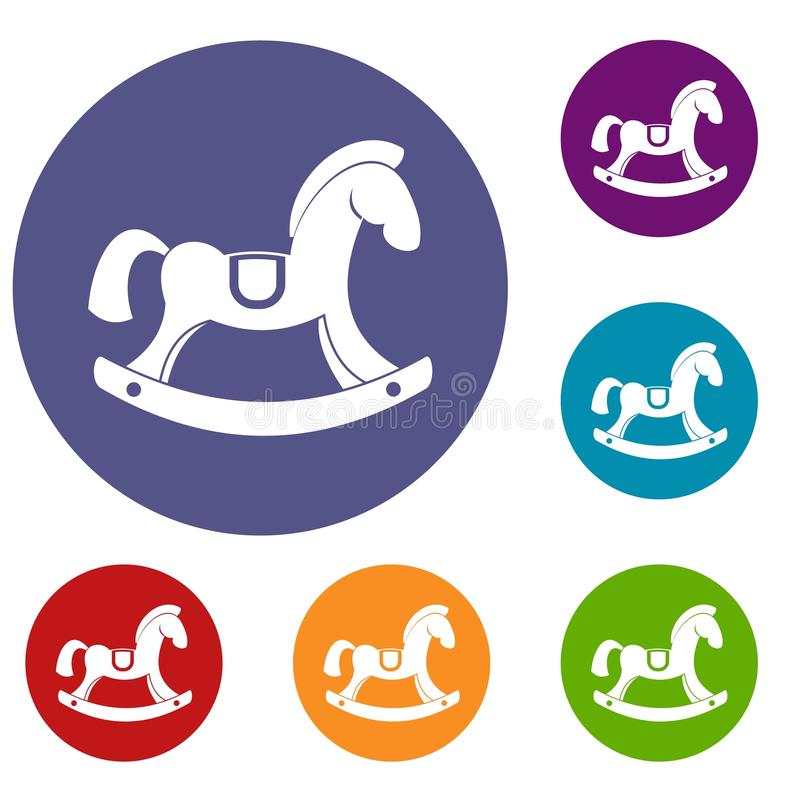 Toy horse icons set. In flat circle red, blue and green color for web stock illustration