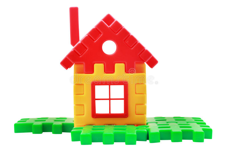 Toy house. Many coloured toy house. Isolated on white background. Contains clipping path stock images