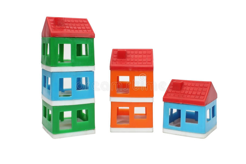 Toy house. Tower isolated on white stock image