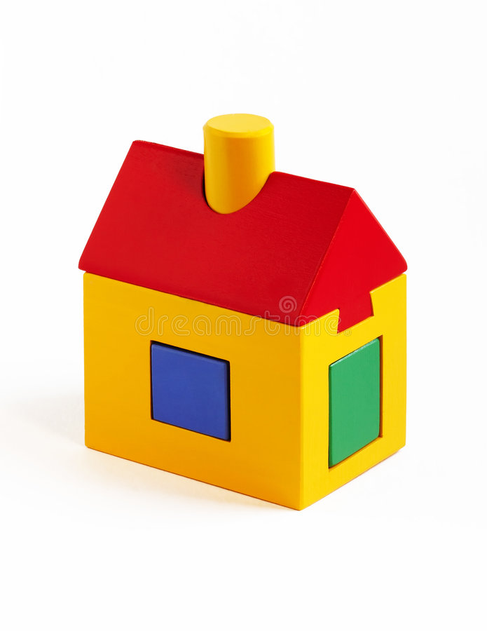 Toy house. Over white background royalty free stock photo
