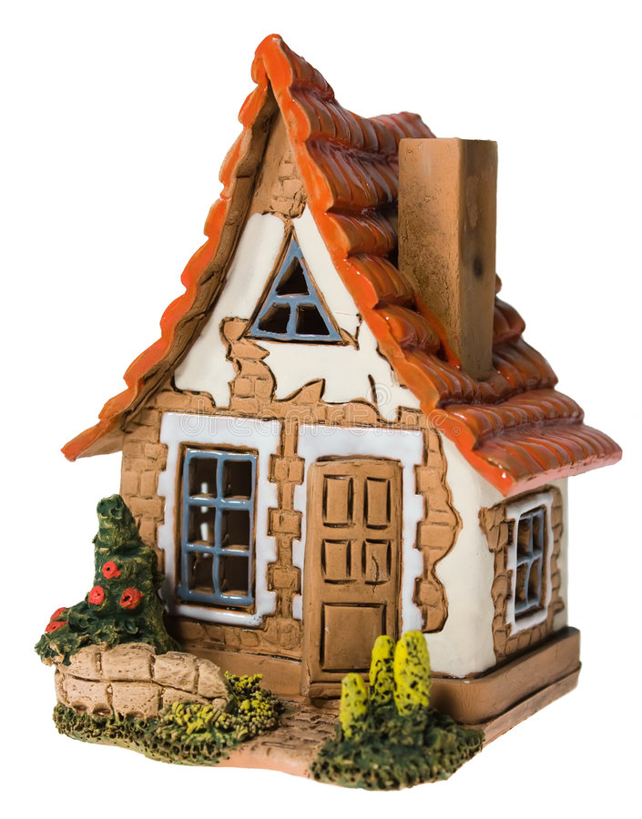 Toy house. Isolated architecture dollhouse royalty free stock image