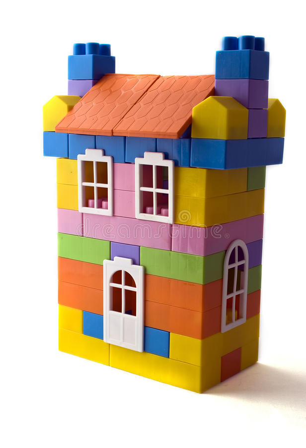 Toy house. Model of the  on a white background stock photography