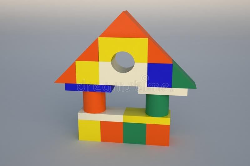 Toy house. Children's blocks stacked in the shape of the building with columns on a gray background stock illustration