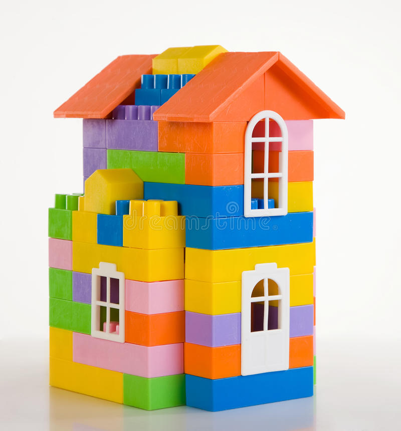 Toy house model. On a white background stock photos