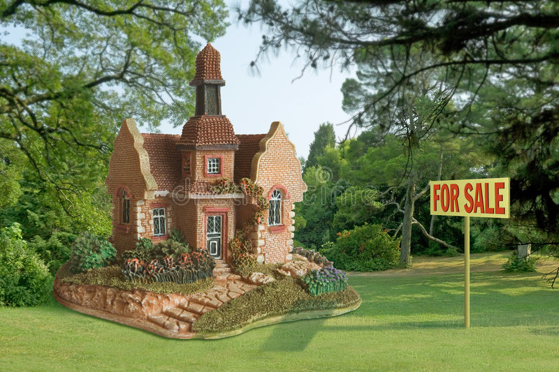 Toy - house for sale stock photos