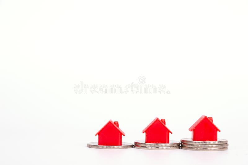 Toy house on the white background. Living object concept royalty free stock photos