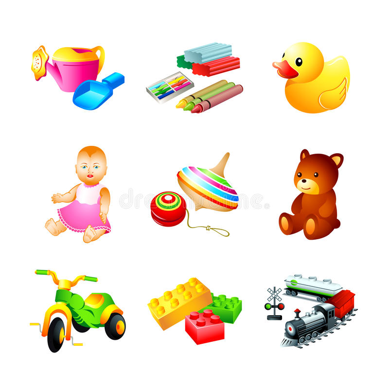 Toy icons. Colorful children toy, tool and model icons stock illustration