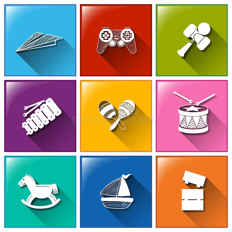 Toy icons. Illustration of the toy icons on a white background royalty free illustration