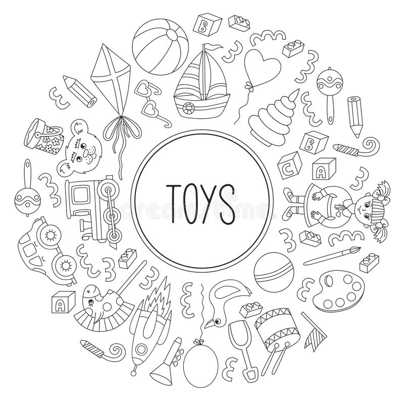 Toy icons line doodle round frame vector. Border icons collection royalty free illustration