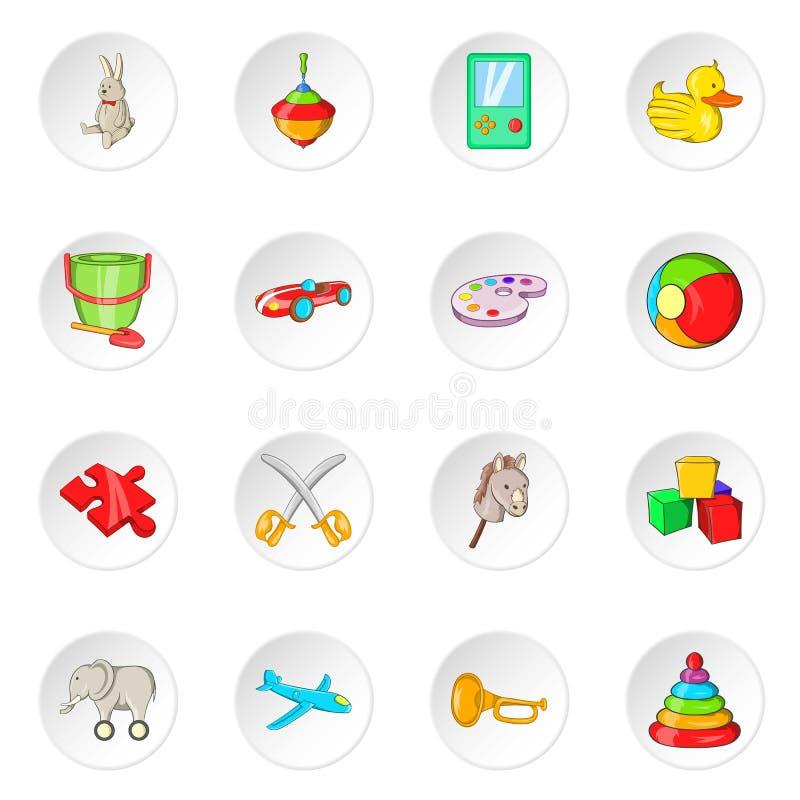 Toy icons, cartoon style. Toy icons set. Cartoon illustration of 16 toy icons for web stock illustration