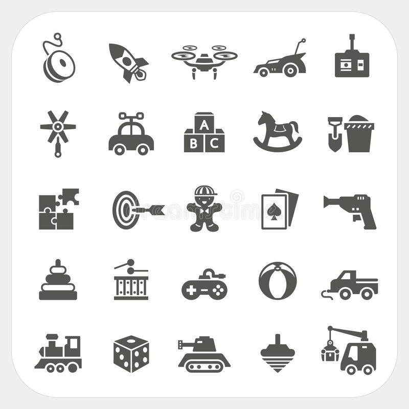 Toy icons set. In mono royalty free illustration