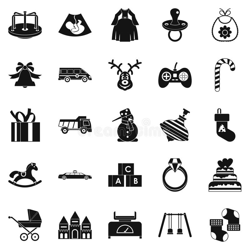 Toy icons set, simple style. Toy icons set. Simple set of 25 toy vector icons for web isolated on white background royalty free illustration
