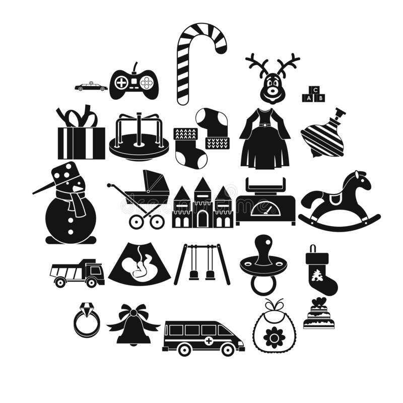 Toy icons set, simple style. Toy icons set. Simple set of 25 toy vector icons for web isolated on white background stock illustration