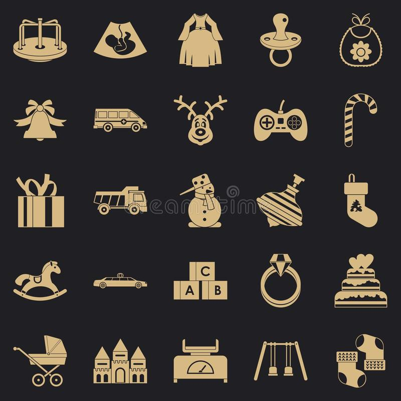 Toy icons set, simple style. Toy icons set. Simple set of 25 toy vector icons for web for any design royalty free illustration