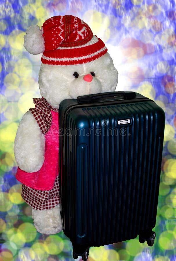 Toy for kids. the little bear is ready for a new journey stock photo