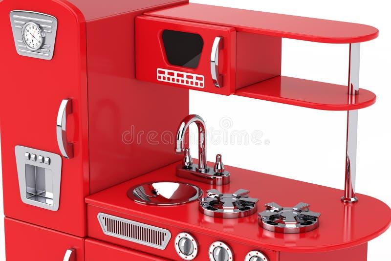 Toy Kitchen Extreme Closeup d'annata rosso rappresentazione 3d illustrazione di stock