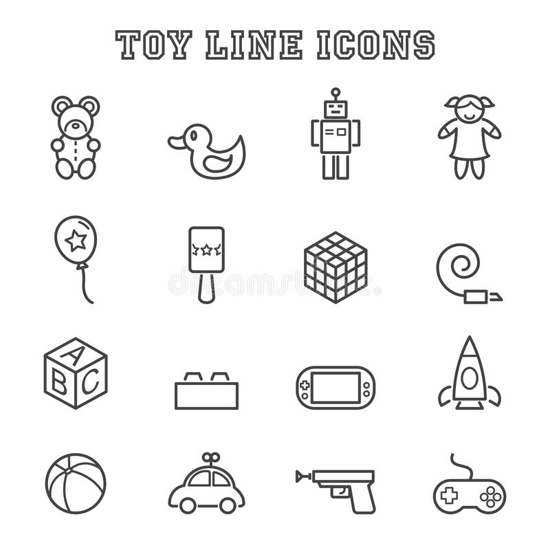 Toy line icons. Mono vector symbols royalty free illustration
