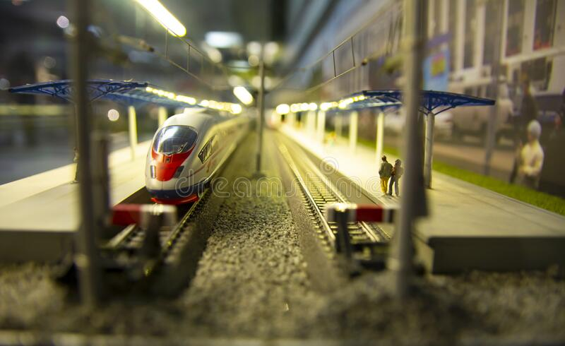 Moscow 2020. Toy little train station. It can be used for publications and advertisements about railway transport and travel royalty free stock photos