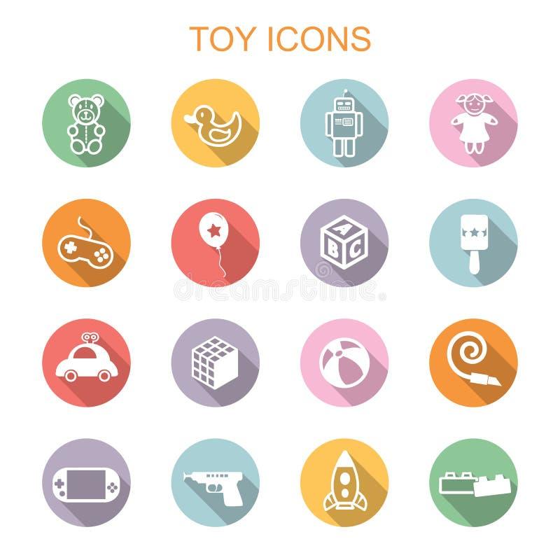 Toy long shadow icons. Flat vector symbols royalty free illustration