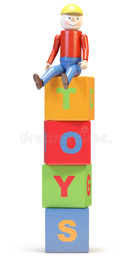 Download Toy man and cubes stock illustration. Image of yellow - 25082067