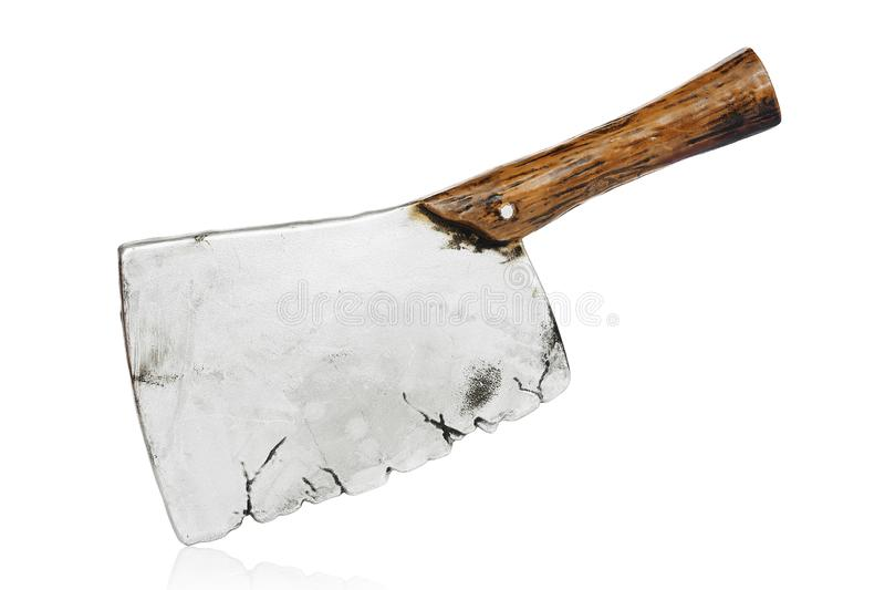 Toy meat cleaver. Isolated on white royalty free stock images