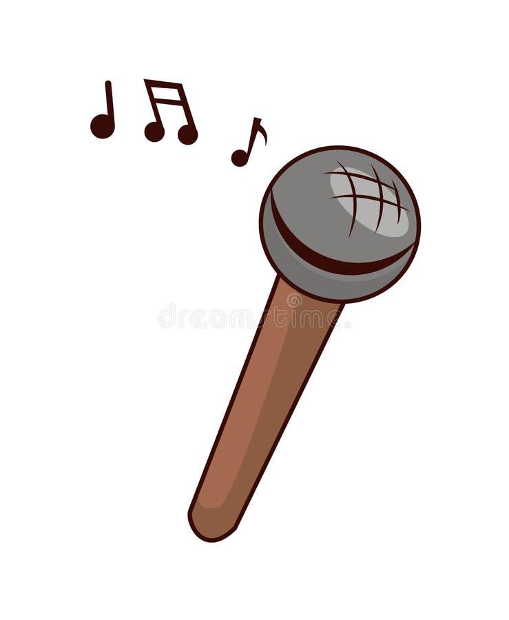 Toy Microphone som ska sjungas med små musikaliska anmärkningar vektor illustrationer