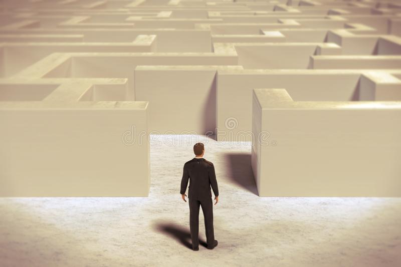 Toy miniature businessman figurine entering a  white maze structure vector illustration