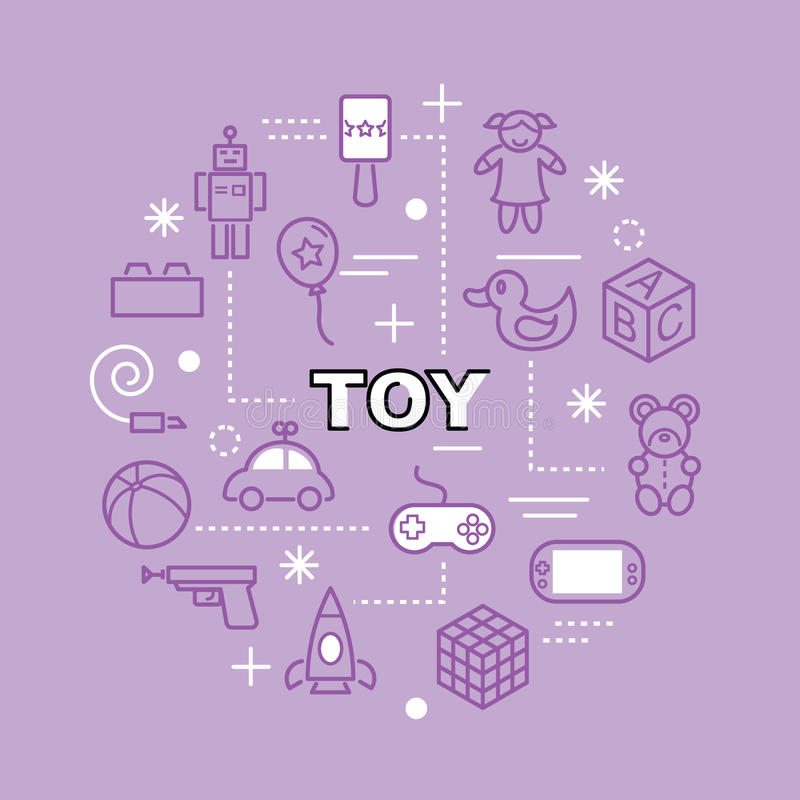Toy minimal outline icons. Vector pictogram set stock illustration
