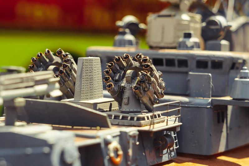 Toy model of warship. Toy model of a warship made from plastic royalty free stock photography