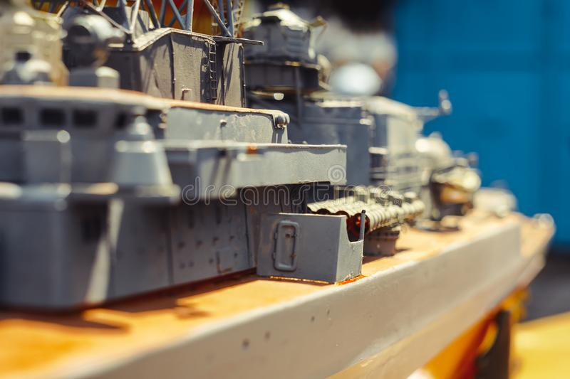 Toy model of warship. Toy model of a warship made from plastic stock photo
