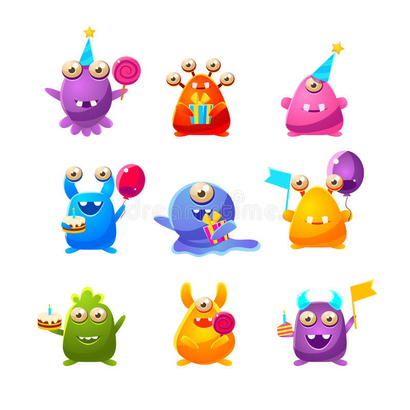 Free Toy Monsters With Birthday Party Objects Stock Photography - 77481052