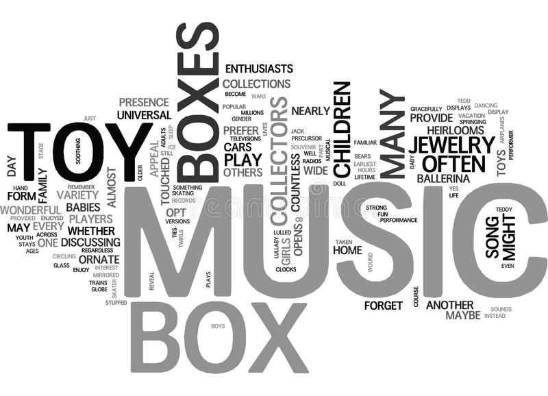 Toy Music Box Is Toy For Life Word Cloud lizenzfreie abbildung