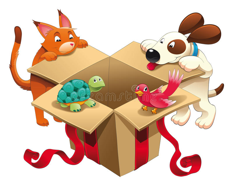 Toy and pets. Funny cartoon and vector characters