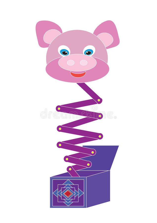 Download Toy a pig in a box stock illustration. Image of spring - 35275418
