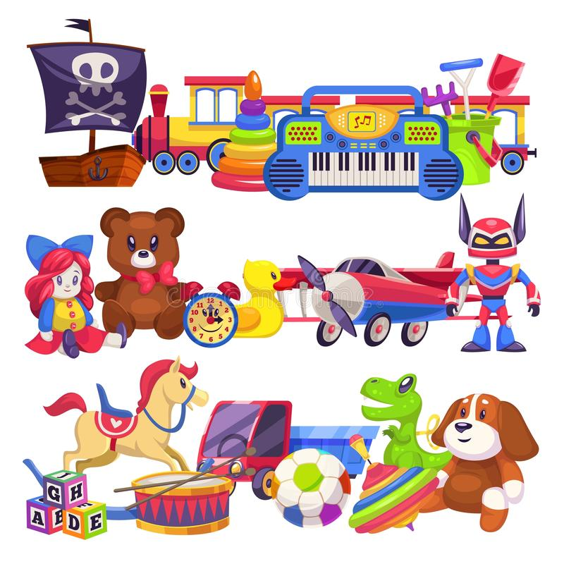Toy piles. Cute colourful kid toys pile with car, sand pail, child plastic animal bear and dog, doll train vector vector illustration