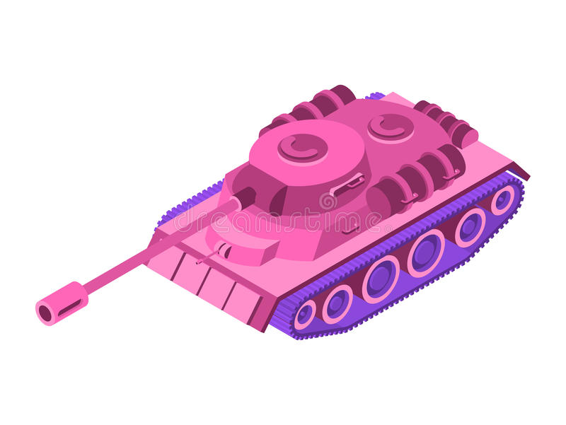 Toy Pink Tank Isometric on white background. Military machine cl vector illustration