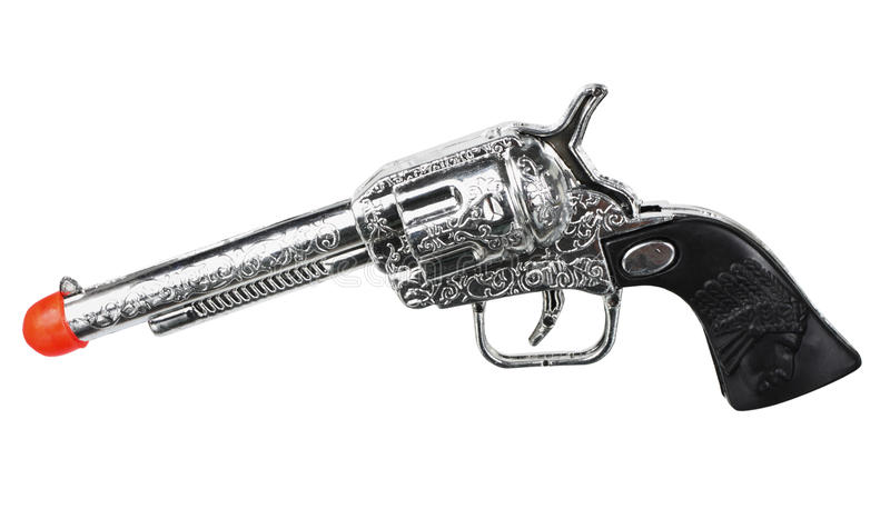 Toy Pistol. On White Background stock images