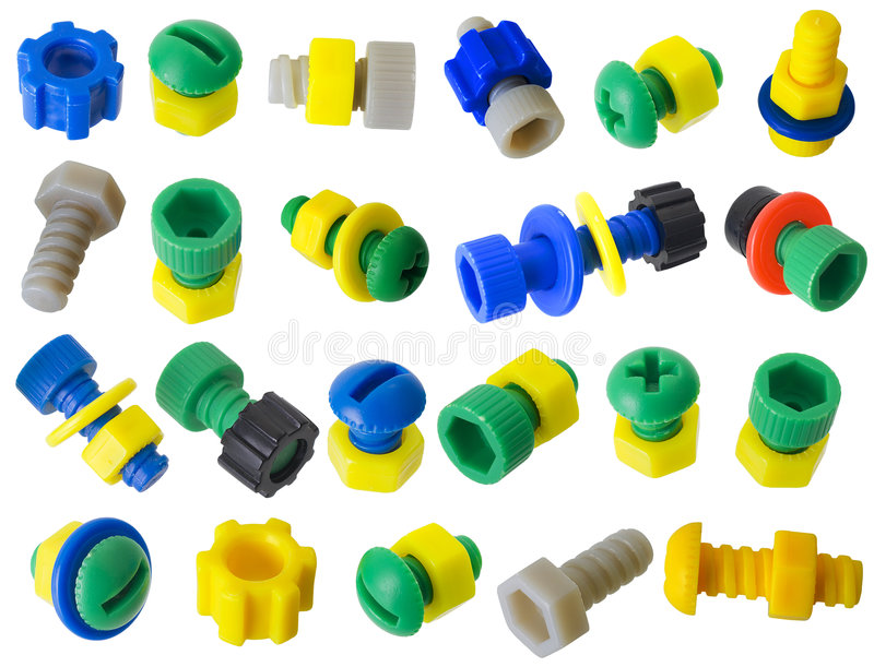 Toy plastic details - bolts, nuts, gears royalty free stock photos